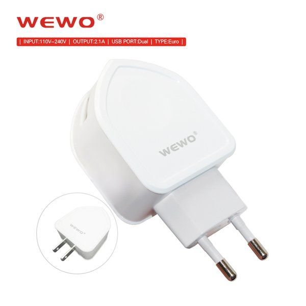 WEWO EU US Plug Fast Charger USB Wall Adapter 1M Micro USB Cable Type-C Retail Package Dual Port Cell Phone Charger for iPhone