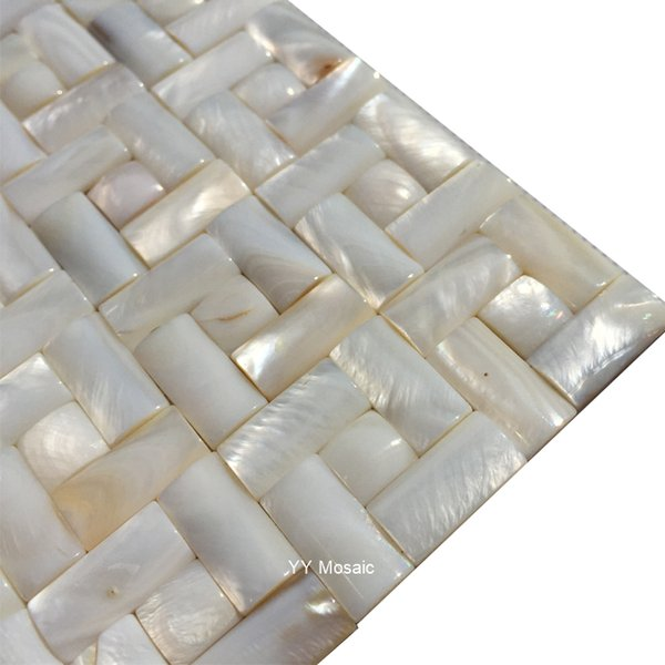 European Style Natural White Rectangle Seamless Convex Shell Mosaic Tile for Hotel Living Room Bathroom Wash Basin Backdrop