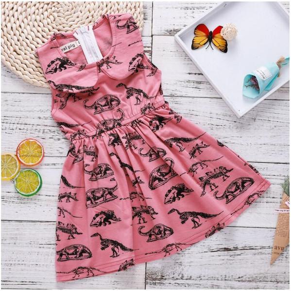 Bébé Fille Rose Poupée Col Dinosaur Robe Bébé D'été Coton Mélanges Robes Jupes Enfants Enfants Vêtements ZHT 021