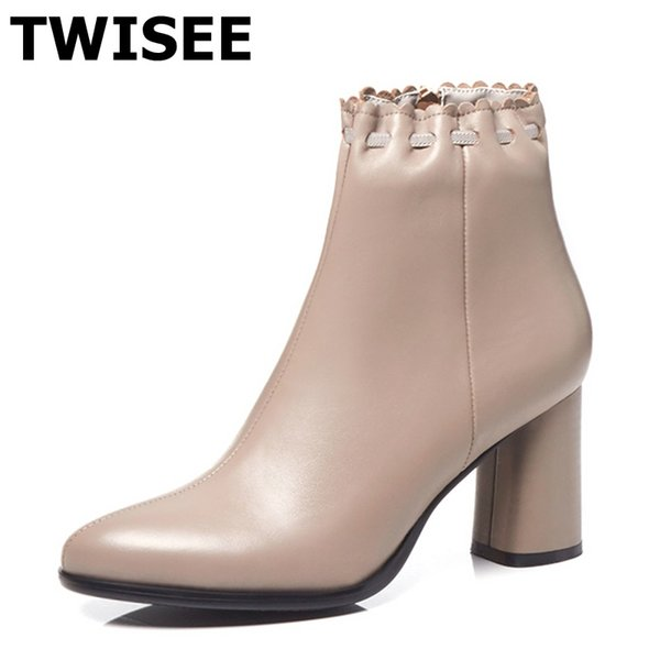 Mid calf boots Pumps new style zapatos mujer fashion round toe spike heels woman party shoes zipper polyurethane