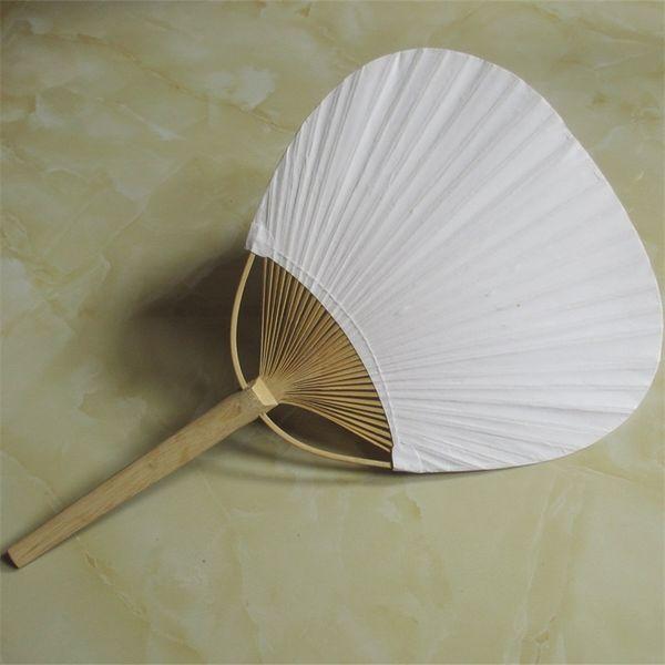 Büyük Sayı Kağıt Fanı Yuvarlak Bambu Çerçeve Ve Kolu Ile Iki Taraflı Boş Fanlar Kaligrafi Boyama Düğün Parti Hediyeler 3qx jjkk