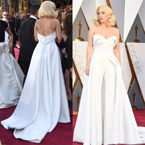 Unique 88th Oscar Lady Gaga Red Carpet Dresses White Pants Jumpsuit Outfits Stain Evening Celebrity Gowns