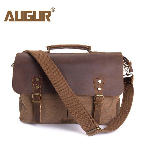 AUGUR Men Handbags 15.6 inch Leather Vintage Messenger shoulder Bag for Men and Women Canvas Back to School Satchel Laptops Bag