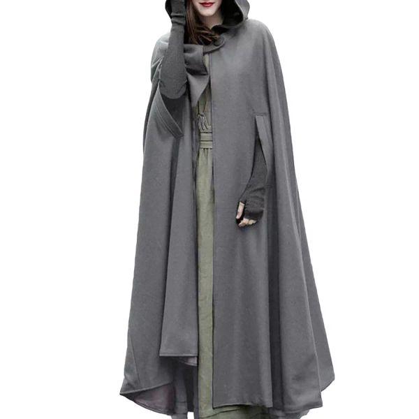 Women Oversized Retro Irregular Long Poncho Cape Trench Cloak 2018 Autumn Winter Hooded Coat Button Open Front Cardigan Overcoat