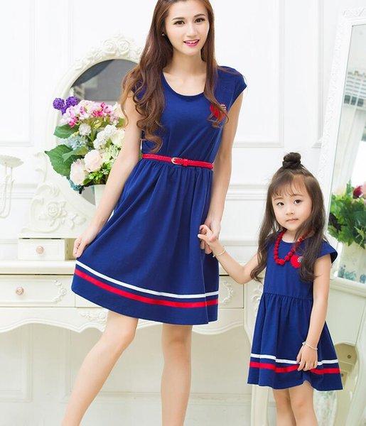 Summer Family Clothing Mother Daughter Dresses Mom and Daughter Naval Academy Dress Matching Outfits Dress for Kids and Women Gift