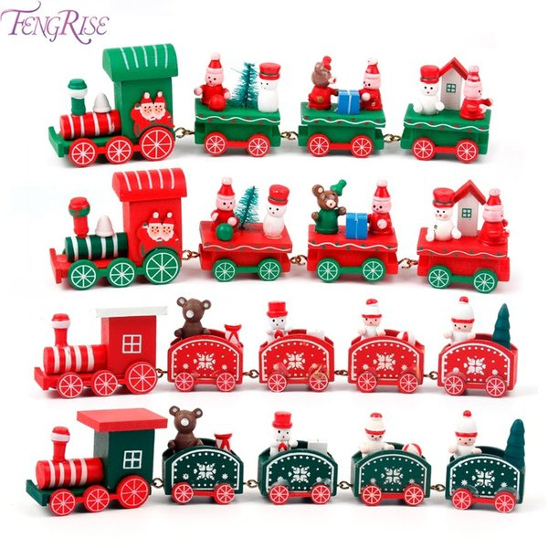 FENGRISE Wooden Christmas Train Christmas Decorations for Home Xmas Little Train New Year Gift 2019 Navidad Party Supplies Y18102609