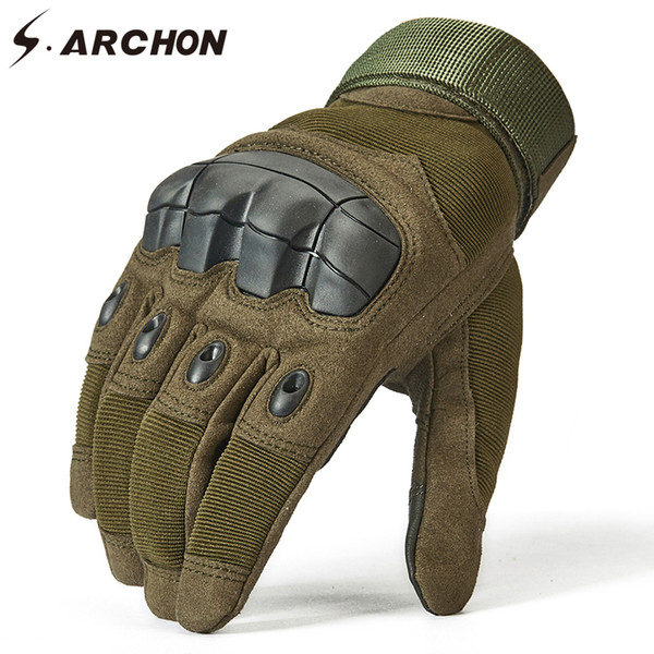 S.ARCHON Special Force SWAT Tactical Gloves Men Knuckle Protect Shooting Fight Military Gloves Full Finger Paintball Army Gloves D18110705