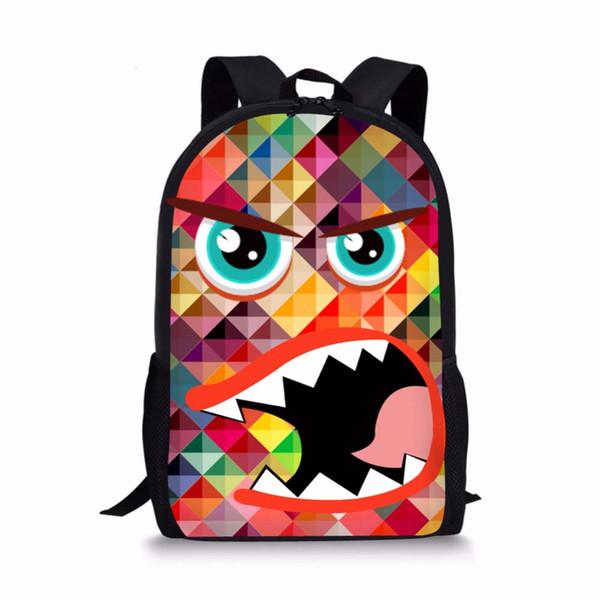 FORUDESIGNS 3D Funny Monster Pattern Printing 16 Inch Cartoon Boys Girls School Bags Kids Student Book Bag Backpack Gift Bagpack