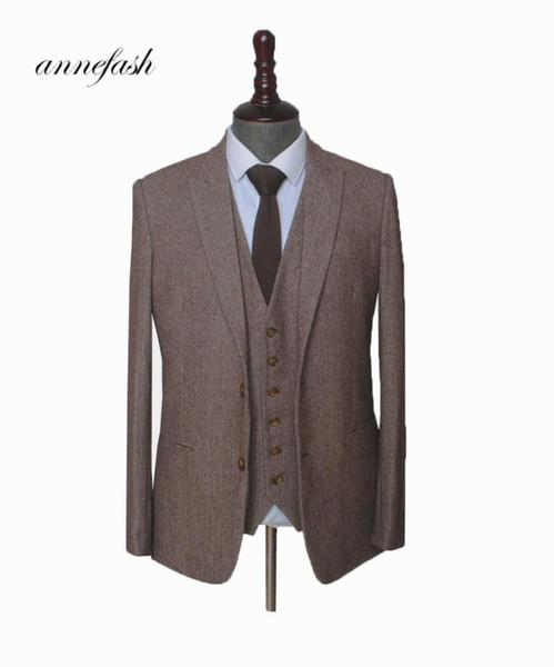 Custom Made Woolen brown Herringbone Tweed men wedding suit British style Mens suit tailored plus size Blazer
