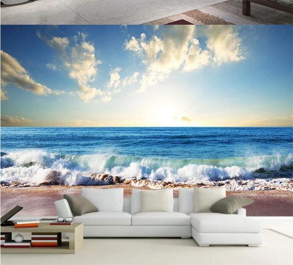 Compre 3d Mural Wallpaper Sea Beach Photo Murals Paisaje Fondos De Pantalla Para La Sala De Estar Papel De Parede Wall Paper Wall Art Decor A 2136