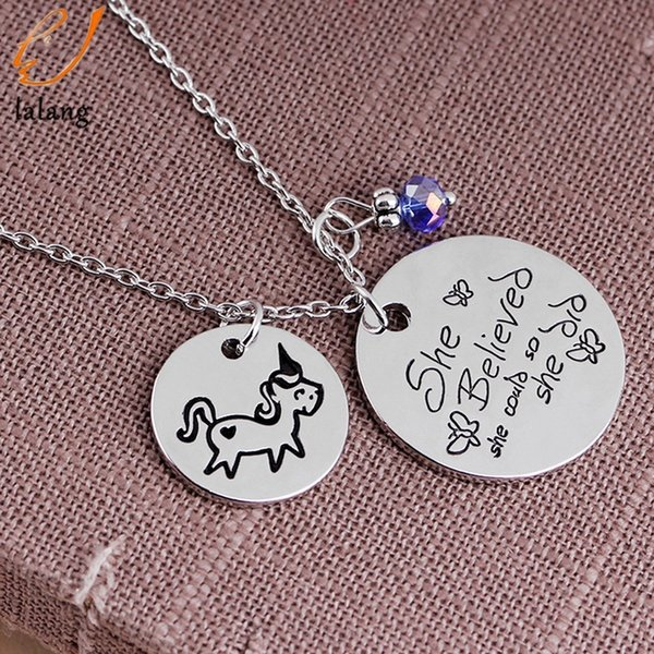 Fashion New Silvery-color She Believed She Could So Did Unicorn Horse Alloy Clavicle Chain Pendant Necklace Jewelry Gift