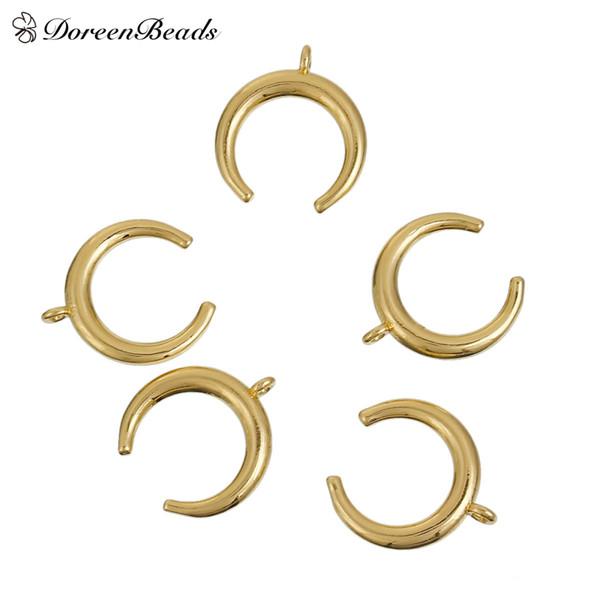 DoreenBeads Copper Boho Chic Colgantes Doble Cuerno color plata mate color oro Luna 17mm (5/8