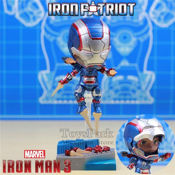 Compre Atacado Homem De Ferro Marvel 3 Patriota De Ferro 10 Cm Figura De Ação Kawaii Bonito Q Ironman Avengers Máquina De Guerra Brinquedos Boneca Ko