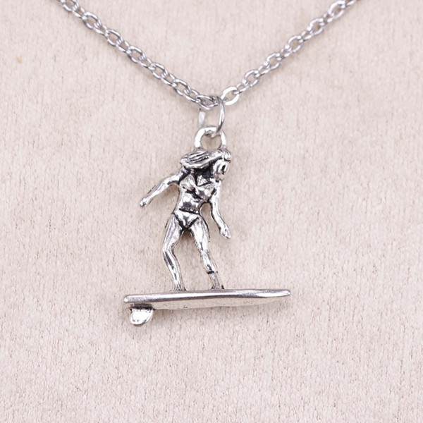 New fashion lady female surfer surfing 21*18mm Antique Silver Pendant Girl Short Long Chain Necklaces Jewelry for women