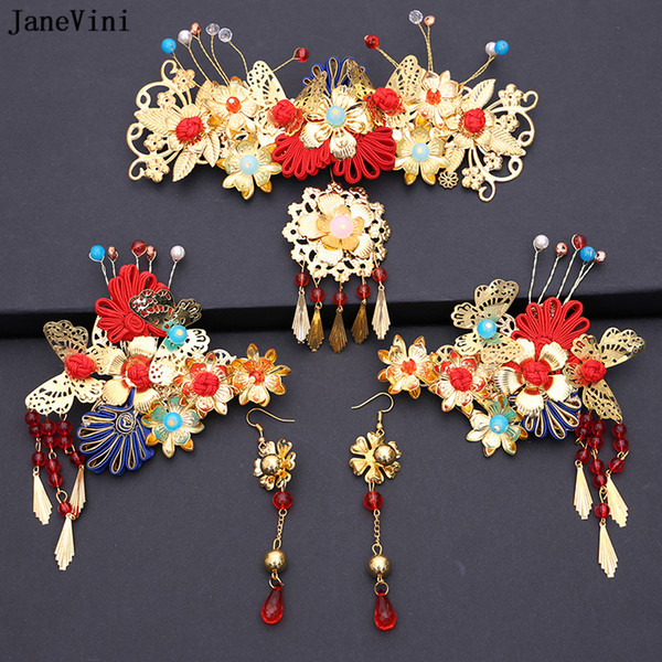 JaneVini 2018 Chinese Traditional Bride Hair Jewelry Headdress Ornaments for Women Gold Hairpin with Earring Wedding Accessories C18110801