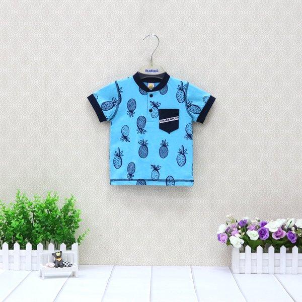 2019 Little Q verão puro algodão camiseta curta moda meninos tanque top crianças tee roupa infantil azul