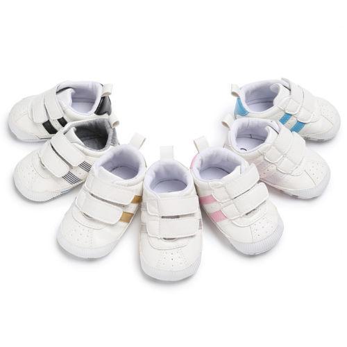 Bebé infantil Suela suave Gancho Loop Zapatillas Prewalker Baby Boy Girl Zapatos de cuna Zapatos ocasionales Recién nacido a 18 meses