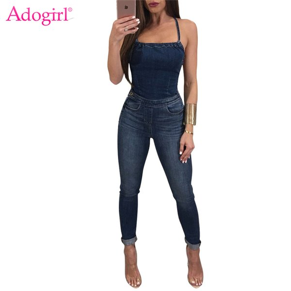 Adogirl Women Jeans Jumpsuits Sexy Strapless Halter Bandage Backless Skinny Rompers High Quality Denim Jumpsuit Overalls Catsuit