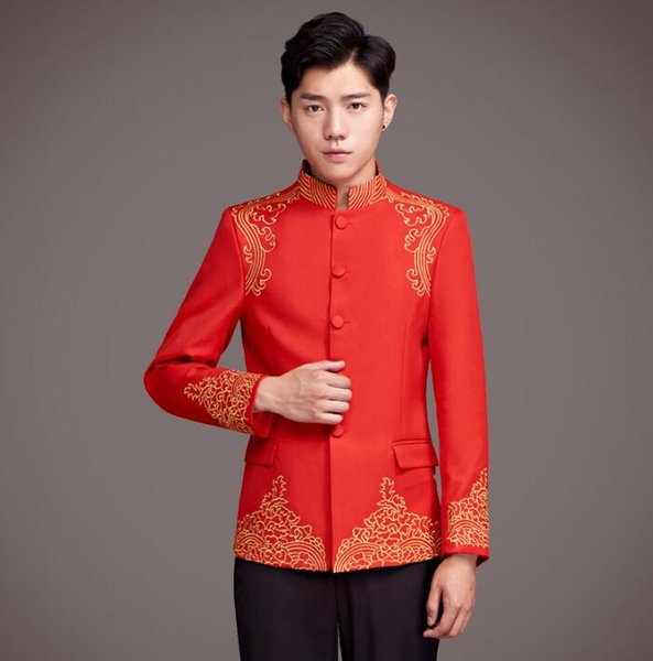 Blazer men formal dress latest coat designs marriage suit men masculino wedding suits for men's stand collar red Chinese style