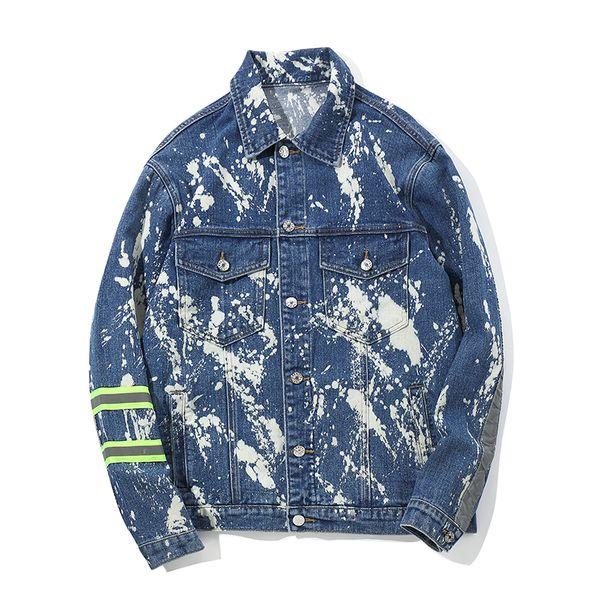 Splash paint personality original design men's jacket street hip-hop high street dark trend denim wear 2018 fashion Size M-XXL