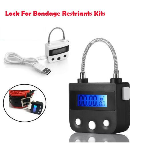 USB Rechargeable Electronic Bondage Lock For BDSM Fetish Hand Cuffs Mouth Gag Timing Switch Adult Games Sex Toys for Couples