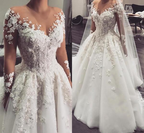 2018 Arabisch A Line Brautkleider Sheer Jewel Neck Long Sleeves Spitze Appliques 3D Blumen Perlen Plus Size Gericht Zug Tüll Brautkleider