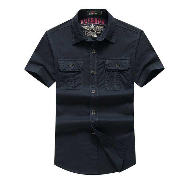 2018 Summer Men Casual Shirt Short Sleeve Cotton Turn Down Collar Designer Shirts Big Size Military Style Green Blue Black Khaki