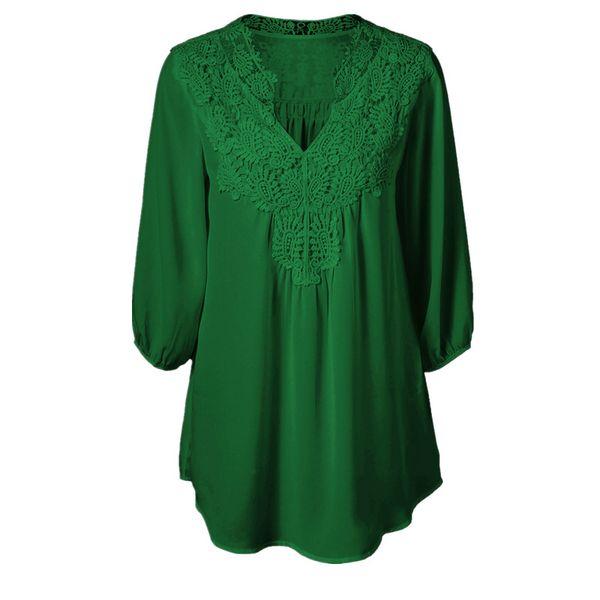 5XL Plus Size Tops Women Chiffon Blouse Shirt Lace Up Blouses V neck Loose Blusas Work Ladies Clothes Tunic 2019 Spring