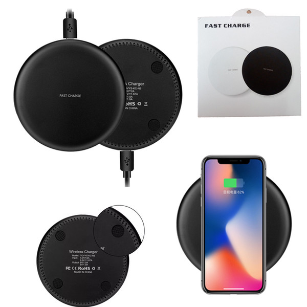 best selling For iPhone X 8 Plus Qi Fast Wireless Charger Quick Charger Charging 9V 1.67A 5V 2A For Samsung S7 Edge S8 Plus Note 8 With Retail Package