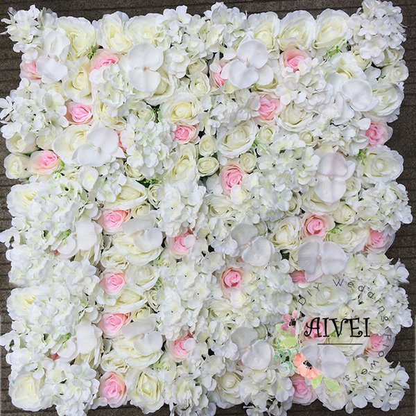 White Silk Hydrangea and Rose Artificial Flower Wall backdrops wedding stage photograph decoration background Panels 40*60CM