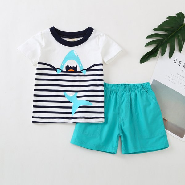 Boys Shark Stripe T-Shirts+Pants Outfits Summer 2018 Kids Clothing for Boutique Little Boys Cotton Casual Short Sleeves 2 PC Set