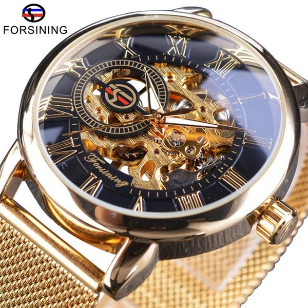Forsining Fashion 3D Logo Skeleton Engraving Men Luxury Watches Transparent Case Gold Slim Strap Simple Design Man Brand Mechanical Watch
