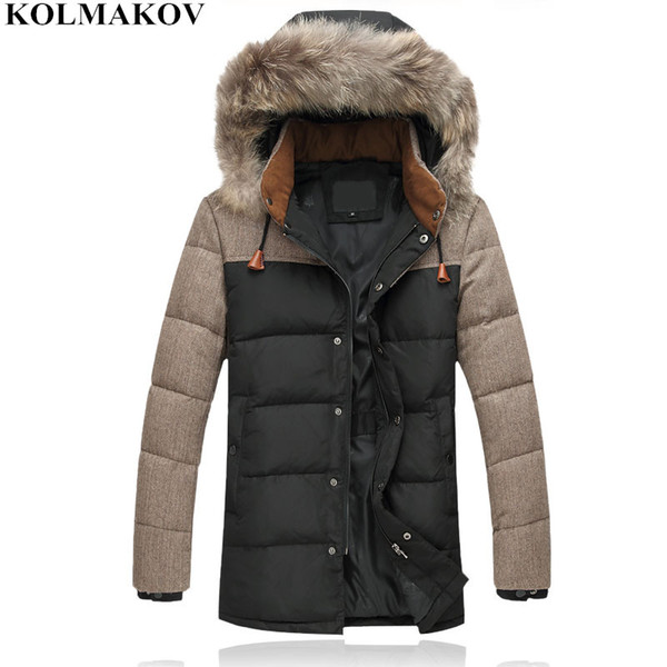 NEW Plus size M-4XL mens down coats with hat Slim 2018 winter men's Casual fur hooded coats male warm duck down jackets men