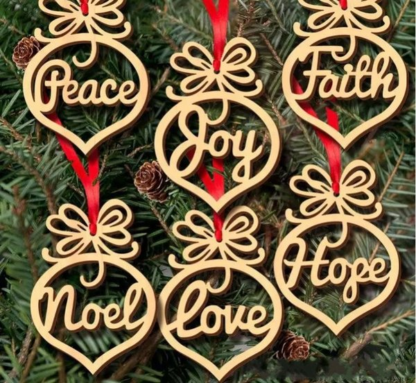 Hot sale wood Christmas letter Heart Bubble pattern Ornament Christmas Tree Decorations Home Festival Ornaments Hanging Gift 6 pc per bag