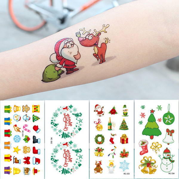 Noel Karikatür Çocuk Geçici Dövme Etiket Su Geçirmez Sahte Vücut Sanatı Dövmeler 10.5X6 cm Çocuklar El Dövme