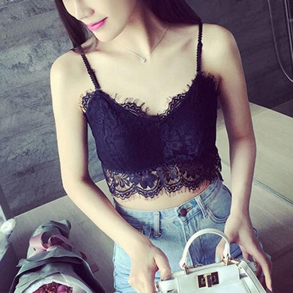 1PC Sexy Lace Floral Brassier Crop Top Harness Hollow Out Camisole Bra Women V-Neck Vest Underwear Blouses Tank Tops