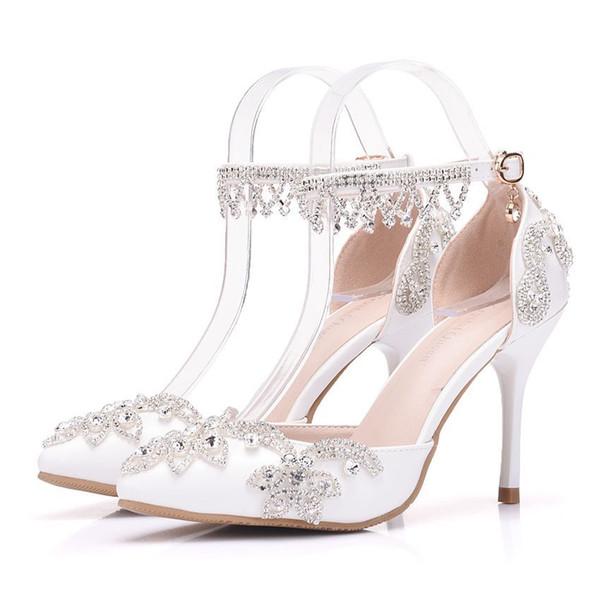 New Fashionl sexy apontou toe sapatos para as mulheres strass Branco de salto alto sapatos de casamento de salto grosso Cadeia de Cristal Bonito Plus Size Sapatos