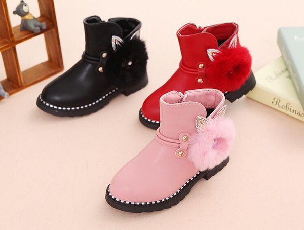 top popular Popular new sequined side zipper snow boots round head plush winter baby pink warm boots children's shoes 2019