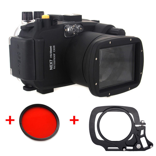 Underwater Waterproof Housing Diving Case for SONY Nex-7 Nex 7 18-55mm lens Camera + 67mm Red filter + Wet-lens Adapter Mount