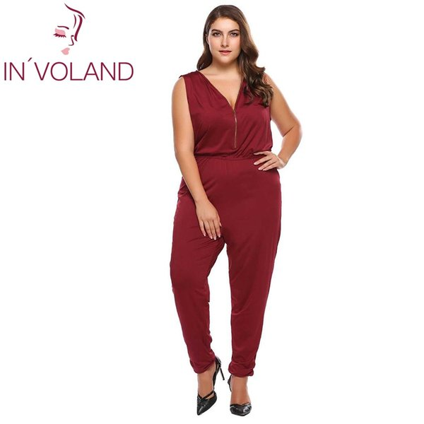 IN'VOLAND Full Size XL-4XL Women Sexy Jumpsuit Summer V-Neck One-Piece Sleeveless Large Playsuit Solid Zipper Romper Big Size