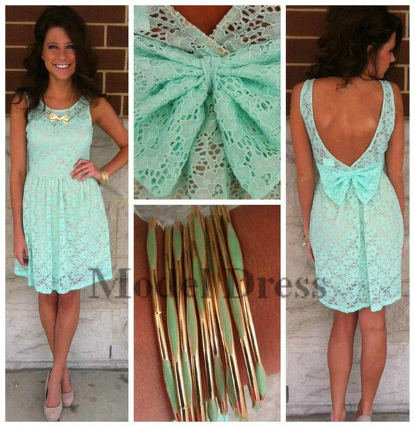2018 Mint Green Homecoming Dresses A Line Lace Open Back with Bow Sleeveless Formal Short Prom Dresses for Party Gowns Custom Made