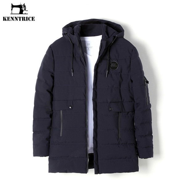 KENNTRICE Jacket Mens Winter Parkas Coat Long Trench Coat Hooded Jackets Warm Parka Men Long Thick Puffer Jackets Nylon Anorak