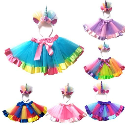 New Kid Baby Girls Rainbow Tutu Skirt Unicorn Headband 2Pcs Photo Prop Costume Outfits Party Shows Perform Skirt 1-8T