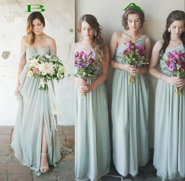 2019 país Boho estilo gasa damas de honor vestidos de una línea pliegues fiesta de invitados de boda larga noche vestidos de baile barato BM0182