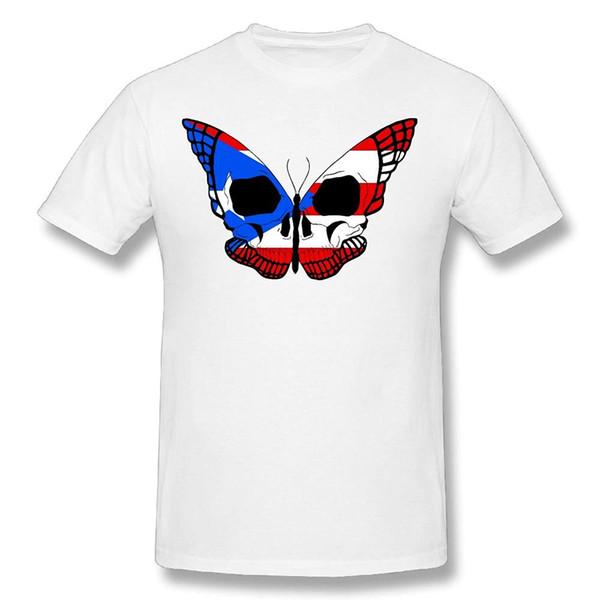 Cráneo de la mariposa de los hombres divertidos Impresiones 100% de algodón Camiseta de manga corta ocasional de la personalidad de alta calidad Tops básicos