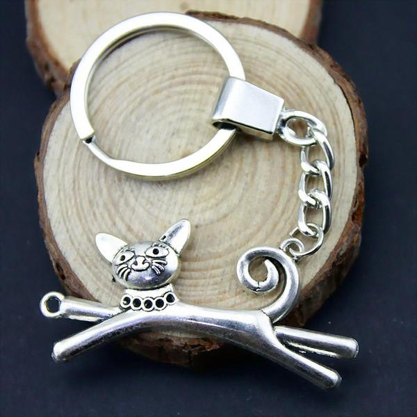 6 pieces key chain women key rings car keychain for keys cat connector 52x28mm