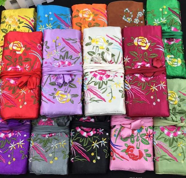 Sacchetti di imballaggio di seta cinesi della borsa del raso di immagazzinaggio di viaggio del rotolo dei gioielli delle donne di stile di modo colori misti