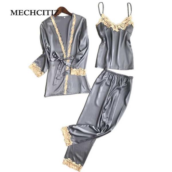 MECHCITIZ 2018 de tres piezas pijamas de seda sexy conjunto Robe Sling Pijamas pantalones de manga larga camisón de las mujeres 6 colores ropa de dormir S1015