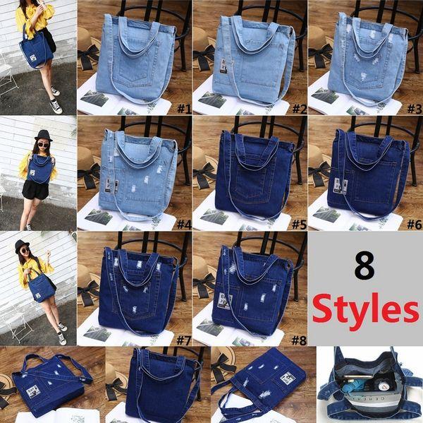 Frauen Denim Schultertasche Einfarbig Reißverschluss Handtasche Damen Mädchen Lässig Vintage Jeans Lagerung Crossbody Einkaufstasche Taschen D019-1