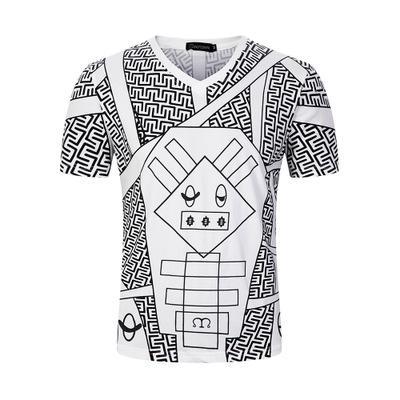 Nueva moda Loose Big Yard M-3XL American High Street Impreso Camiseta para hombre Manga corta con cuello en v Hombre camiseta